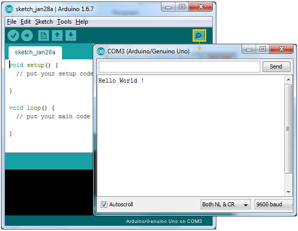 Serial port programming arduino with c