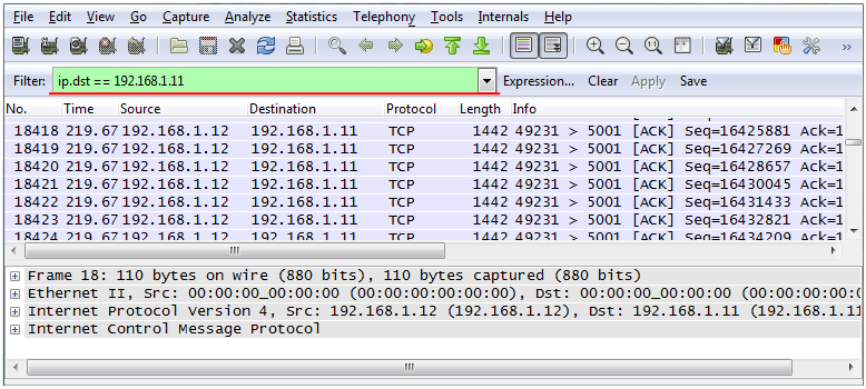 wireshark filter data